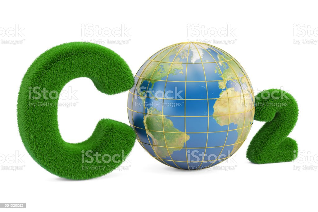 CO2 from grass inscription with globe, 3D rendering vector art illustration