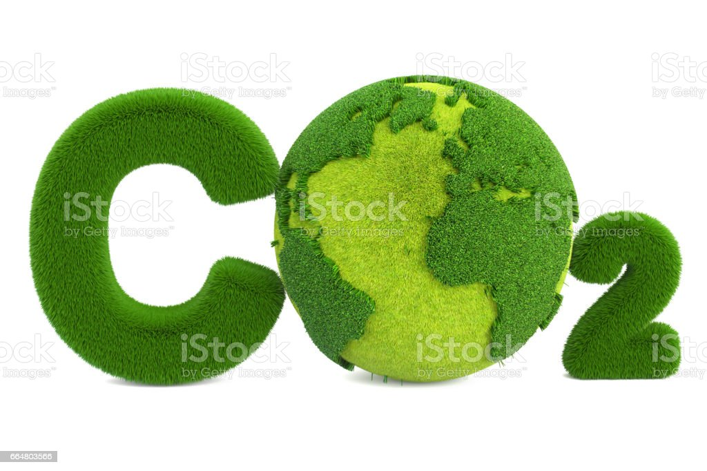 CO2 from grass inscription with globe, eco concept. 3D rendering isolated on white background vector art illustration