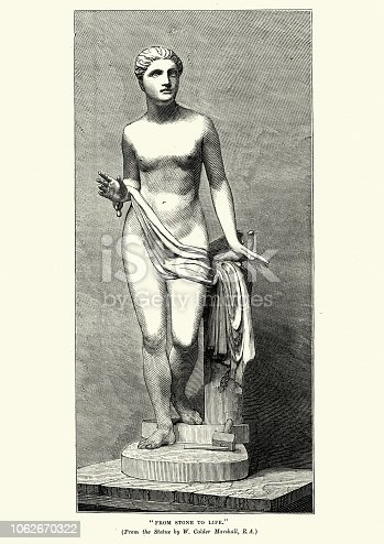 Vintage engraving of From stone to life, Statue, after William Calder Marshall, 19th Century