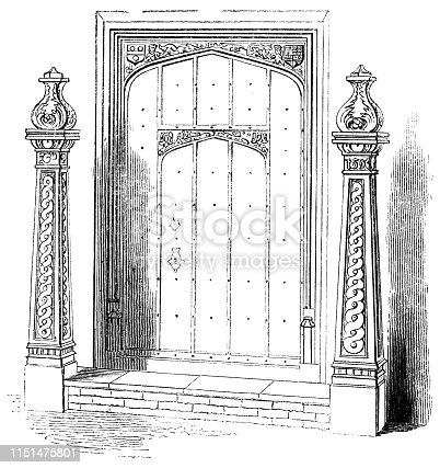 A front door with two Sheriff's Posts (circa 16th century) from the Works of William Shakespeare. Vintage etching circa mid 19th century.