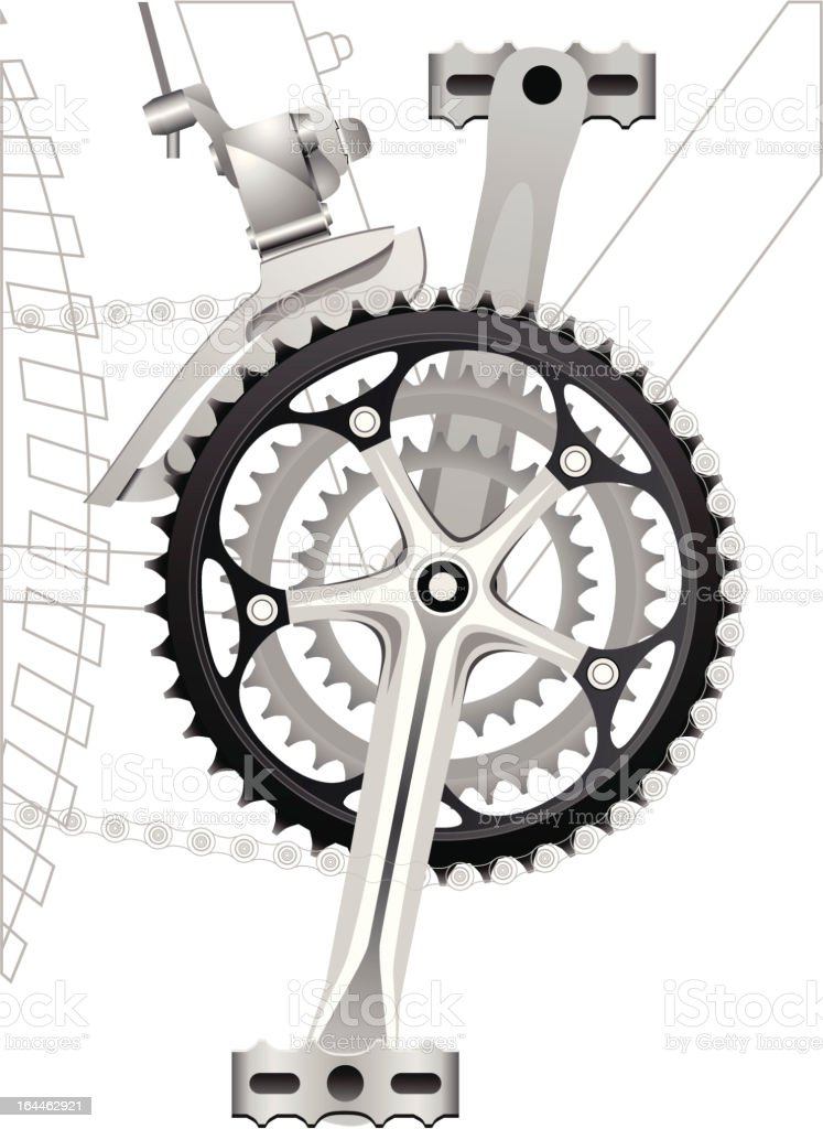 Front Sprocket with Derailleur vector art illustration