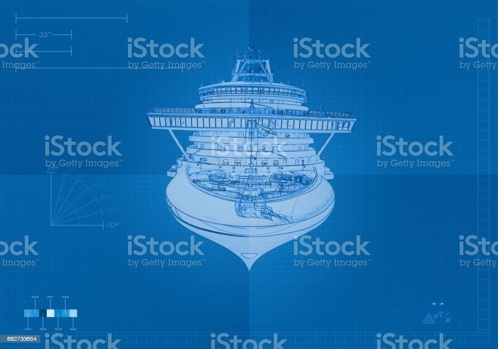 Front View Cruise Ship Blueprint vector art illustration