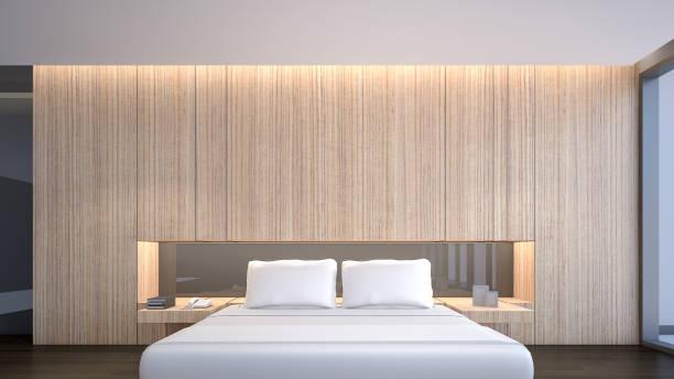illustrations, cliparts, dessins animés et icônes de vue de face d'une chambre avec king size, rendu 3d - architecture intérieure beton