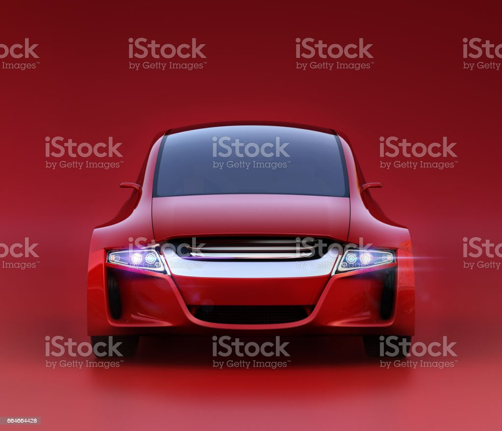 Front view of red autonomous vehicle on dark red background vector art illustration