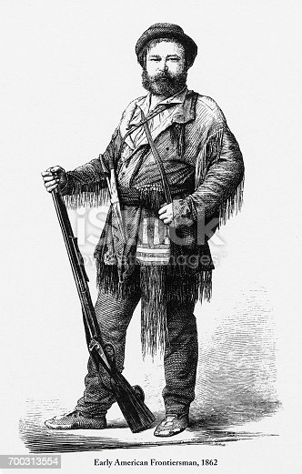 Beautifully Illustrated Antique Engraved Victorian Illustration of Early American Frontiersman Victorian Engraving, 1862. Source: Original edition from my own archives. Copyright has expired on this artwork. Digitally restored.