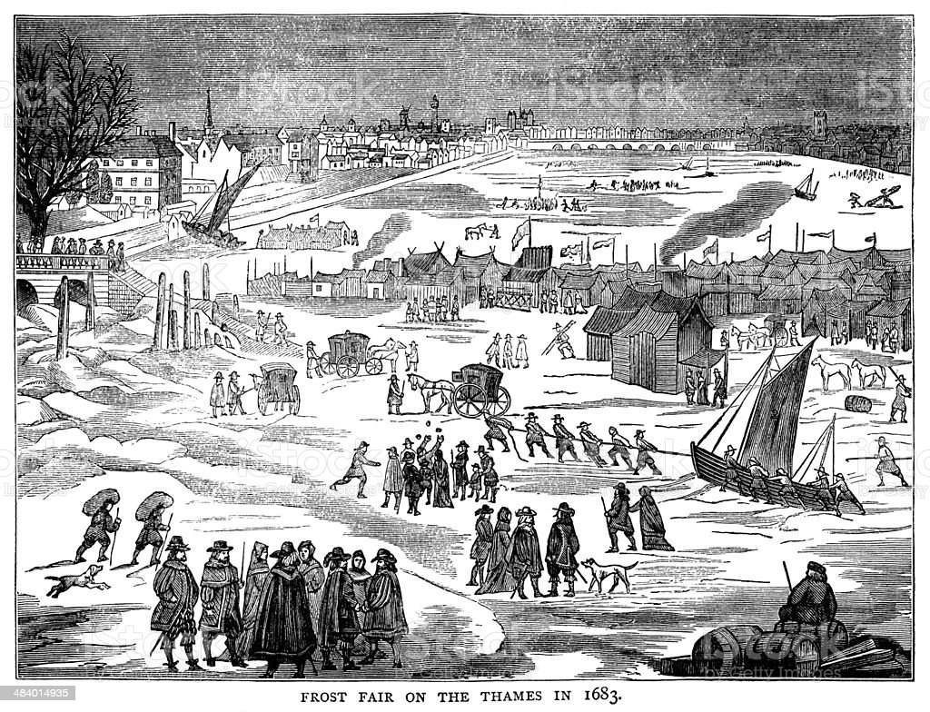 Frost fair on the River Thames in 1683 vector art illustration