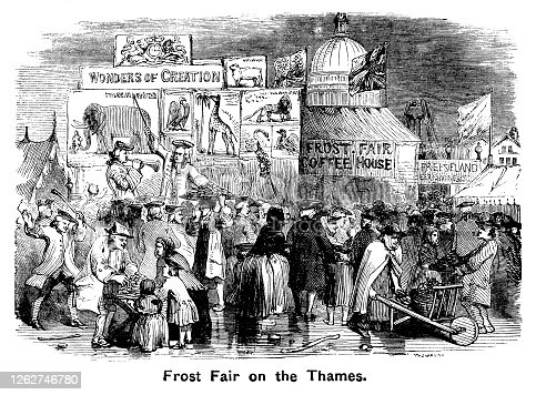 """Crowds of people enjoying a 'Frost Fair'. Frost fairs were events which were held on the River Thames when it froze over with enough thickness of ice to hold such a considerable weight. Between 1607 and 1814 it was quite common for the Thames to freeze over for a month or two at a time, during what became known as the 'Little ice Age'. This image appears to portray a Frost Fair in the 18th century. From """"The Cottager and Artisan: The People's Own Paper"""" published in 1898 by The Religious Tract Society, London."""