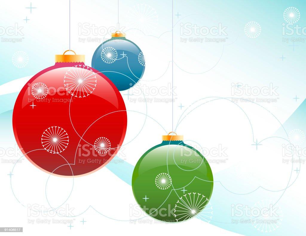 Frosty Christmas Ornaments vector art illustration