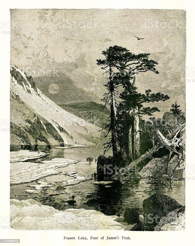 Frozen Lake, Colorado | Historic American Illustrations royalty-free frozen lake colorado historic american illustrations stock vector art & more images of 19th century