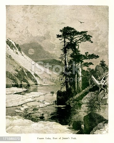 19th-century illustration of Frozen Lake, a crater lake at the foot of James Peak, U.S. state of Colorado. Engraving published in Picturesque America (D. Appleton & Co., New York, 1872). MORE VINTAGE AMERICAN ILLUSTRATIONS HERE: