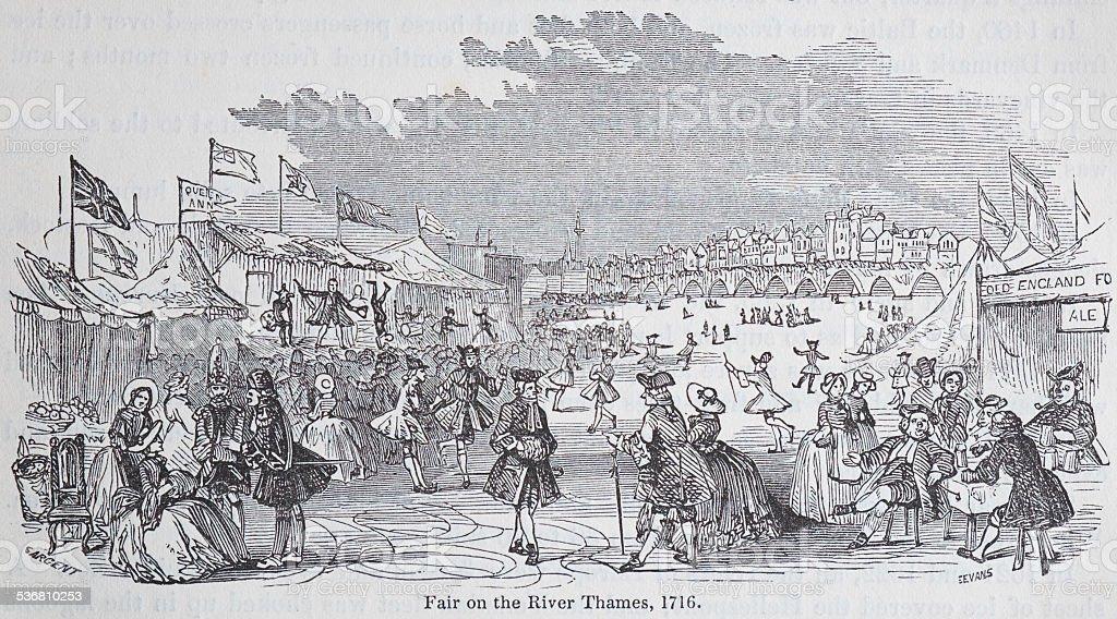 Frozen Thames From 1716 vector art illustration