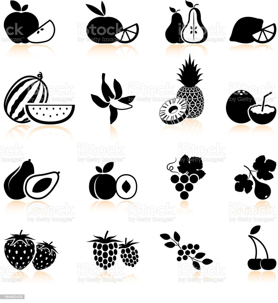 Fruit and berries black & white vector icon set vector art illustration