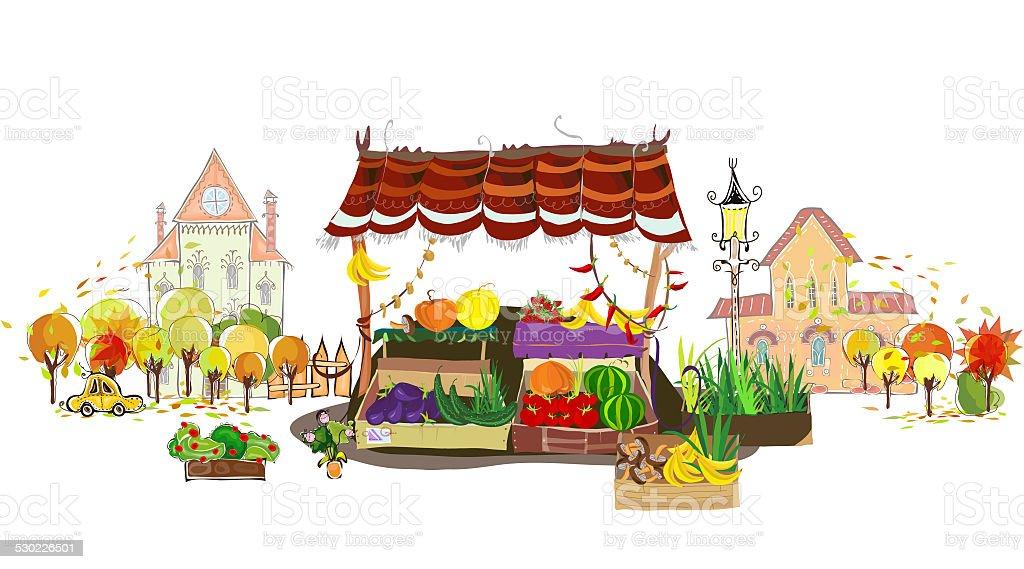 Frutas e legumes de compras na rua da cidade - ilustração de arte em vetor