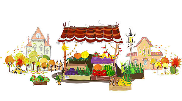Fruit and Veg shop on the city street Fruit and Veg shop on the city street salé morocco stock illustrations