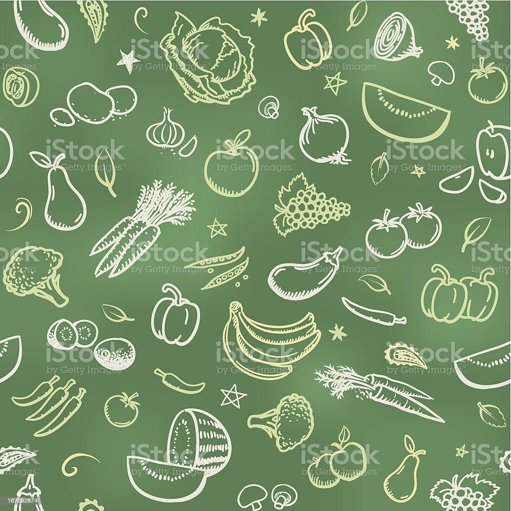 Fruit and vegetable wallpaper background vector art illustration