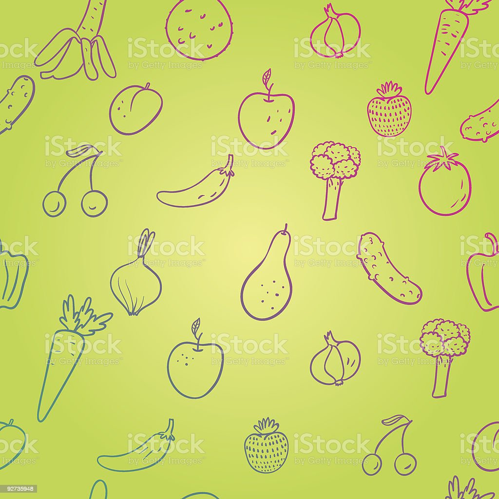 Fruit and vegetables background - Royalty-free Apple - Fruit stock vector