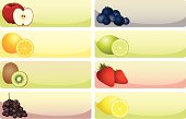 """""""A set of 8 different types of fruit themed banners. Each on an individual layer, with copyspace."""""""