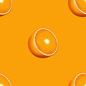 Fruit drawing of oranges illustrated as prints that repeat themselves seamlessly creating a uniform repeating pattern with orange background