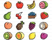 Fruit Icons Drawn with Crayon