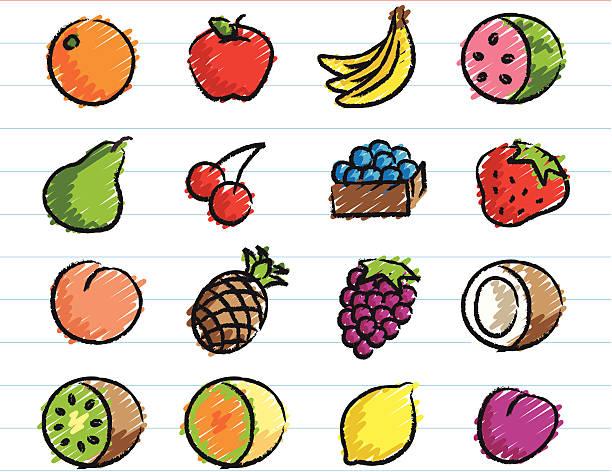 illustrazioni stock, clip art, cartoni animati e icone di tendenza di raccolta di icone di frutta con pastello - pesche bambino