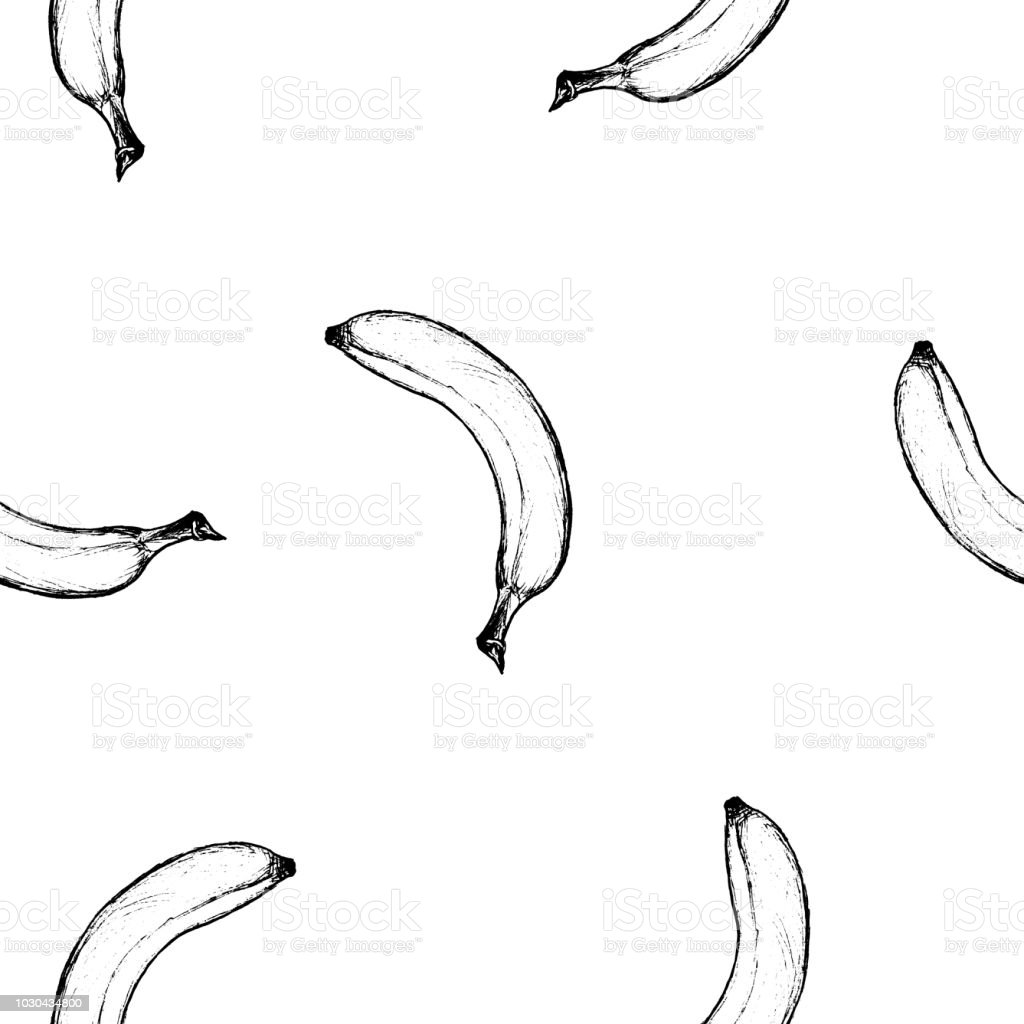 Fruit Menu Banana Handdrawn Graphic Seamless Pattern Stock Vector