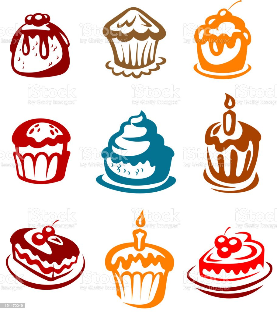 Fruitcakes and pies vector art illustration