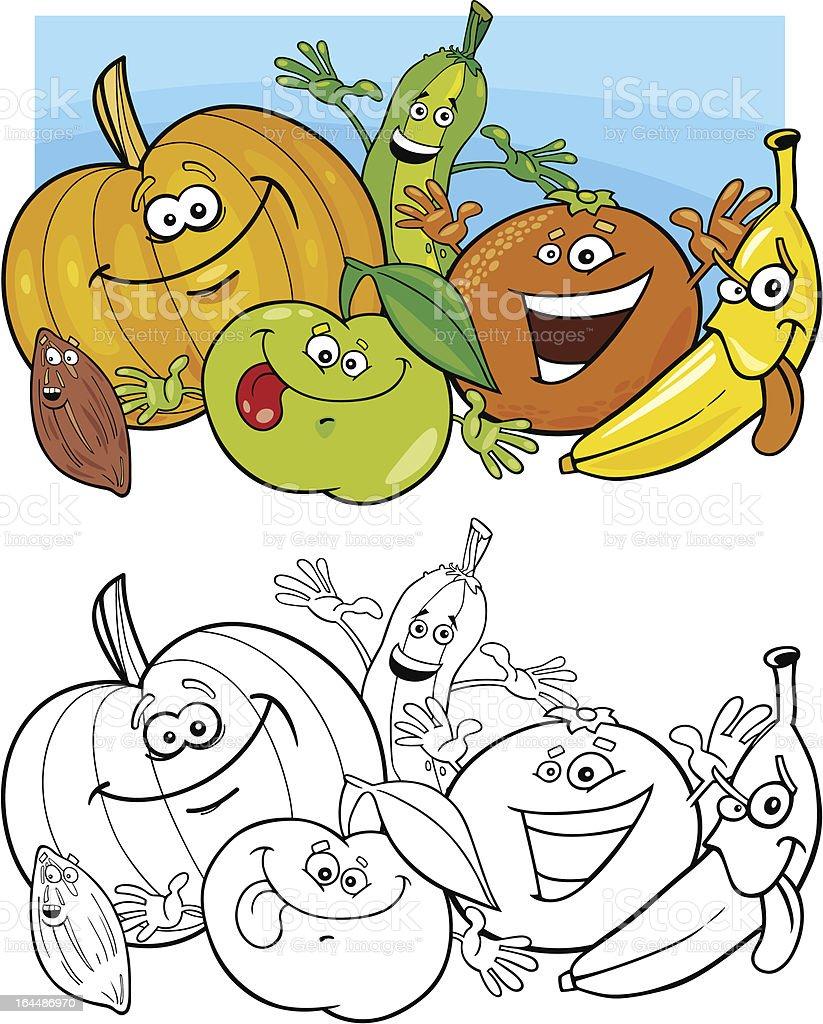 Ilustracion De Frutas Y Verduras Para Colorear Y Mas Vectores