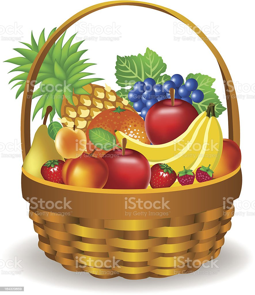 Fruits Basket Stock Vector Art & More Images Of Abundance