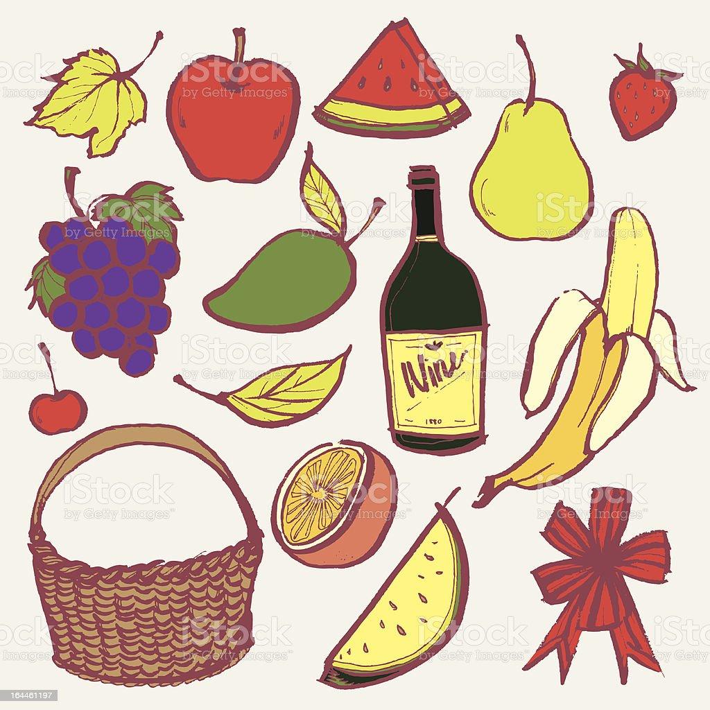Fruits Basket royalty-free stock vector art