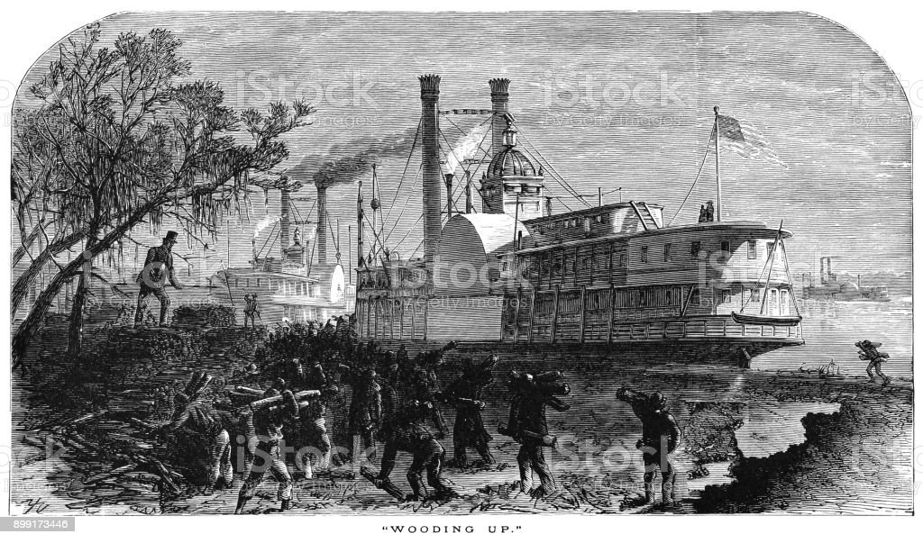 Fuelling a Mississippi paddle steamer with wood vector art illustration