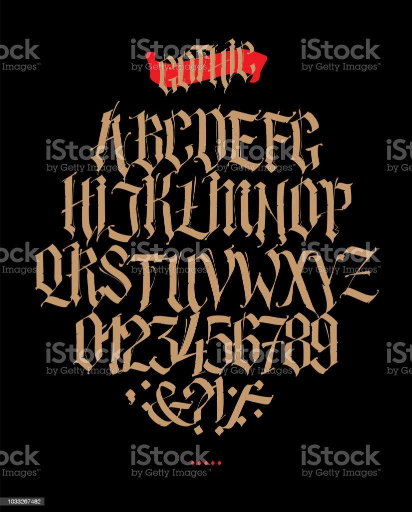 Alphabet Complet Dans Le Style Gothique Lettres Et Symboles Sur Un