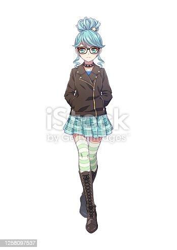 istock Full body illustration of Japanese anime style character 1258097537
