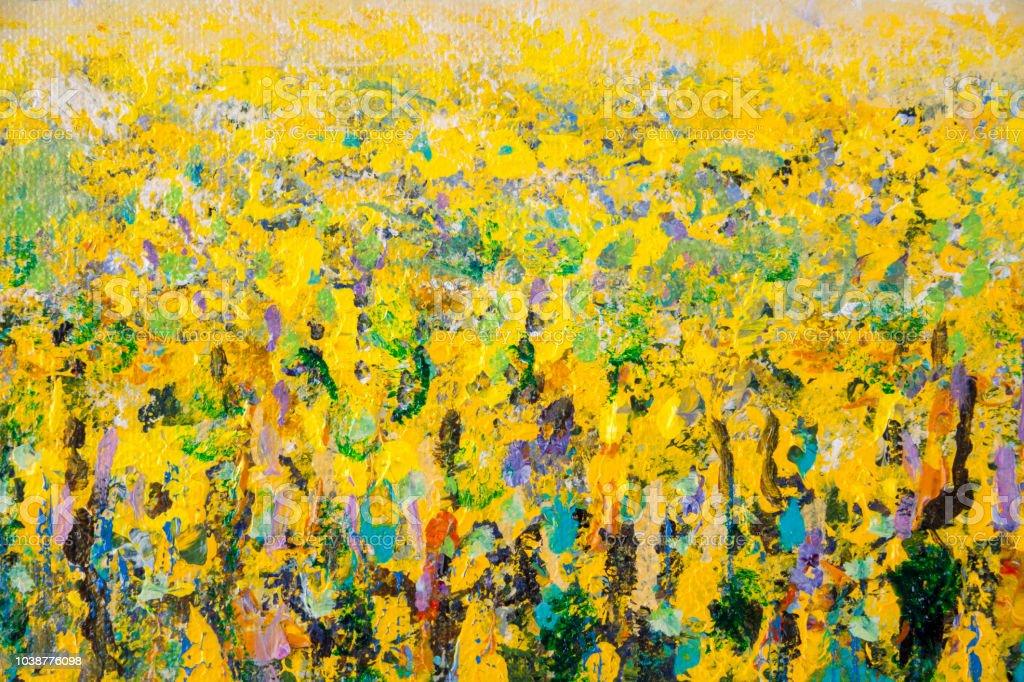フルフレーム黄色油種子菜の花畑アクリル画の技術の詳細