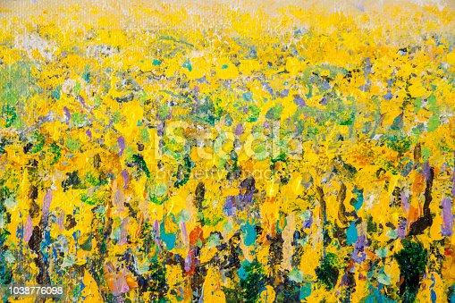 Details of acrylic paintings showing colour, textures and techniques. Full frame yellow  oil seed rape field.