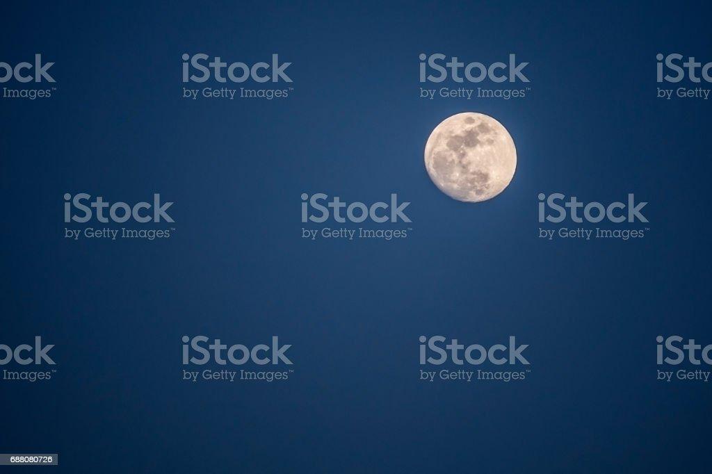 Full moon at dark blue night vector art illustration