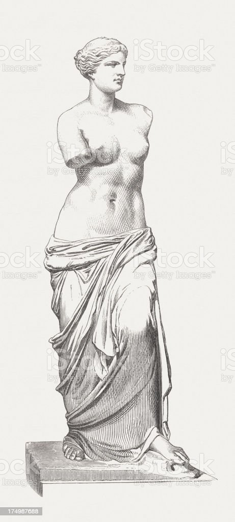 Full size drawing or sketch of the Venus de Milo statue vector art illustration