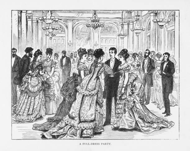 Full-Dress Party Victorian Engraving, 1879 vector art illustration