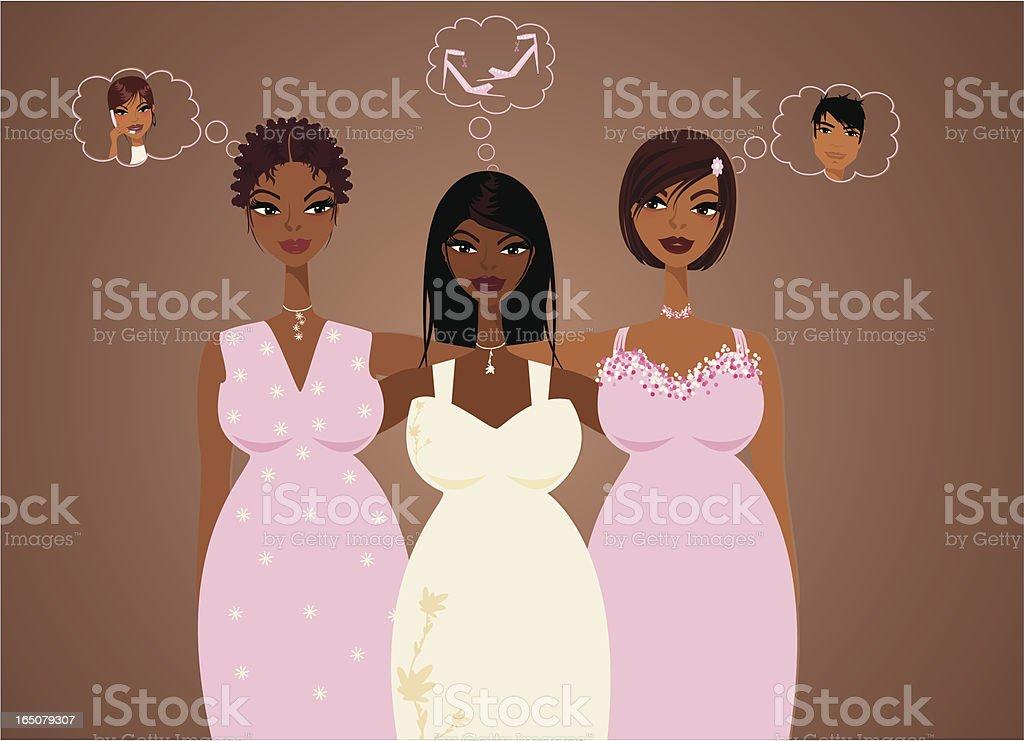 Full-Figured Sisterly Love vector art illustration