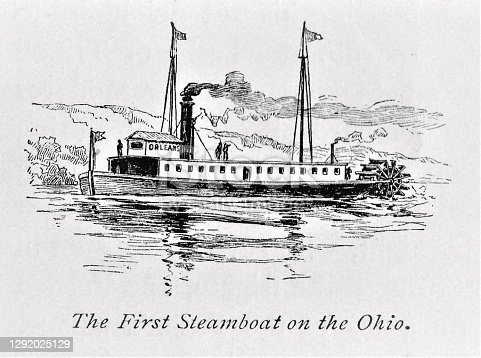 Steamboat, invented by Robert Fulton, sailing on the Ohio River. Illustration published in The New Eclectic History of the United States by M. E. Thalheimer (American Book Company; New York, Cincinnati, and Chicago) in 1881 and 1890. Copyright expired; artwork is in Public Domain.