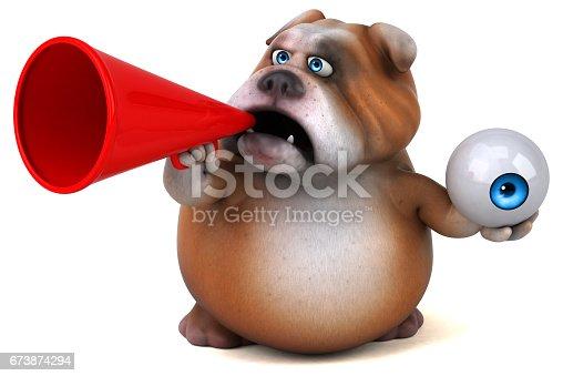 istock Fun bulldog - 3D Illustration 673874294