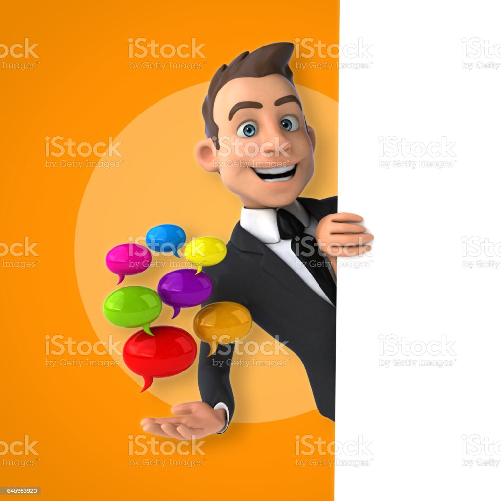 Fun businessman vector art illustration