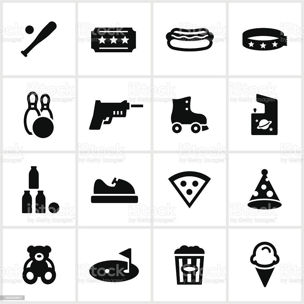 El parque de diversiones Fun Center y iconos - ilustración de arte vectorial