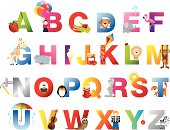 cartoon vector alphabet aimed at the unders 5's childern