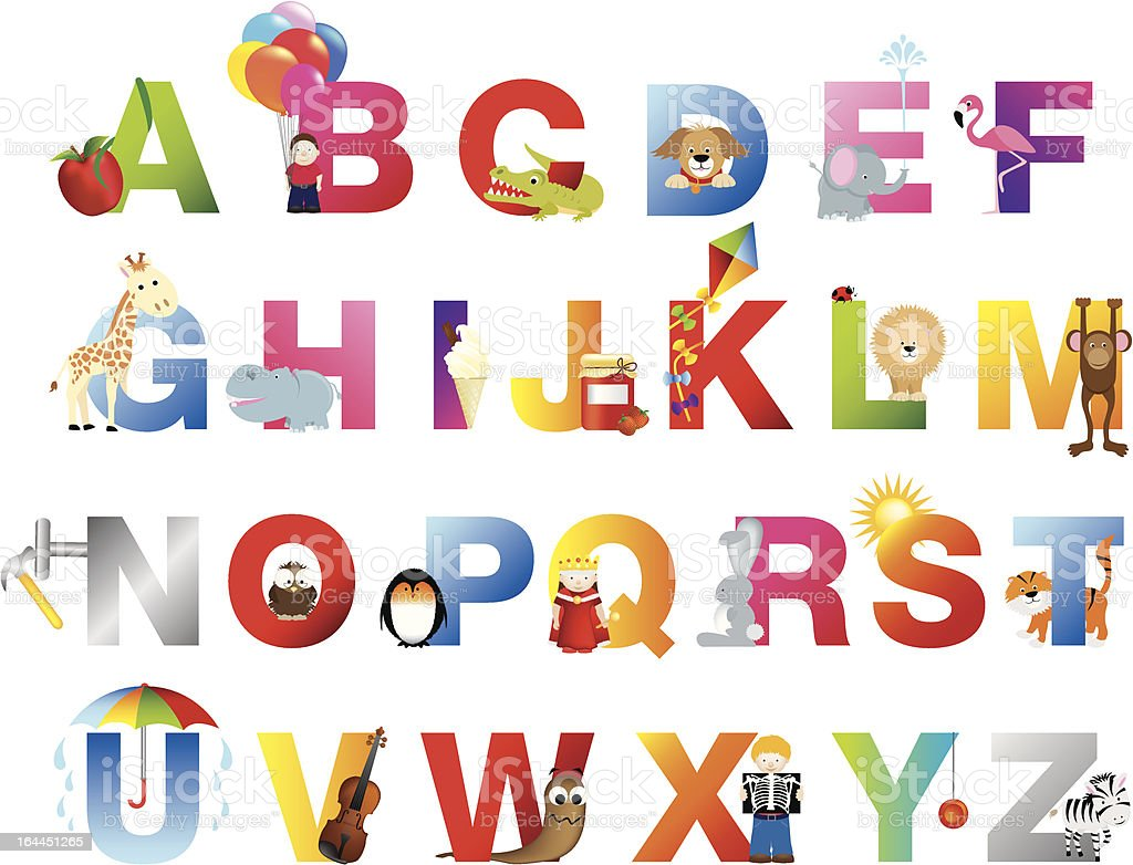 fun childrens alphabet for young child vector art illustration
