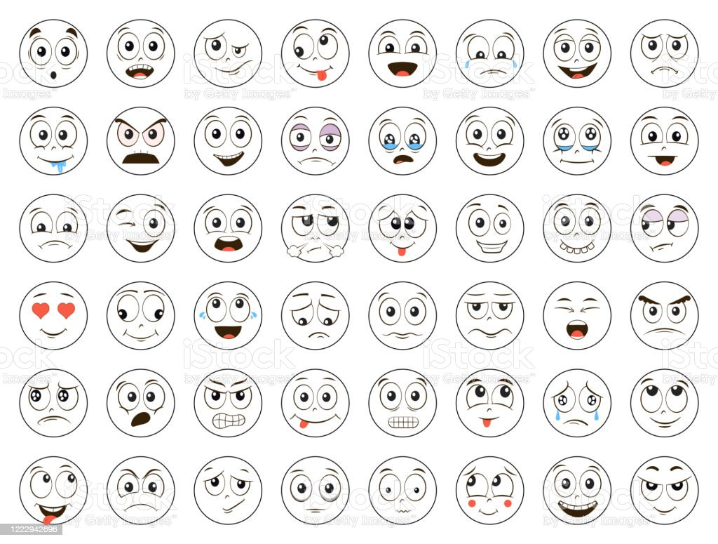 楽しい顔文字が顔をしています絵文字のセット怒っている笑う笑う泣く怖いその他の表情白い背景に孤立したイラスト アイコンのベクターアート素材や画像を多数ご用意 Istock