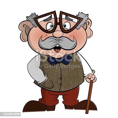 istock Fun grandpa grandfather cartoon illustration 1303894699