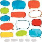 Brightly coloured speech bubbles with various textures.