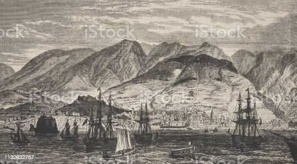 Funchal On Madeira - Arte vetorial de stock e mais imagens de 1870-1879