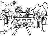 Funeral Ceremony Line Art