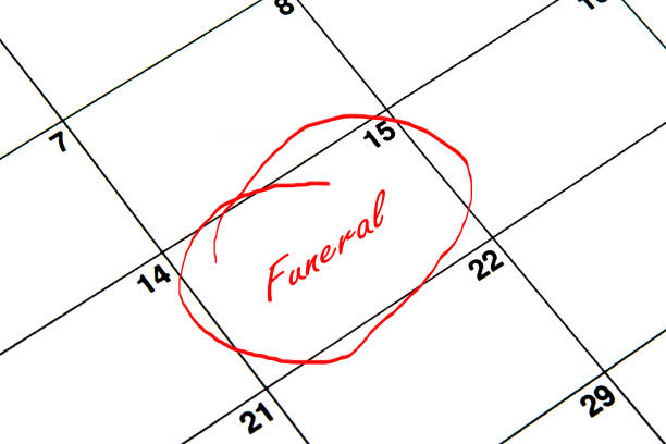 Funeral Circled on A Calendar in Red vector art illustration